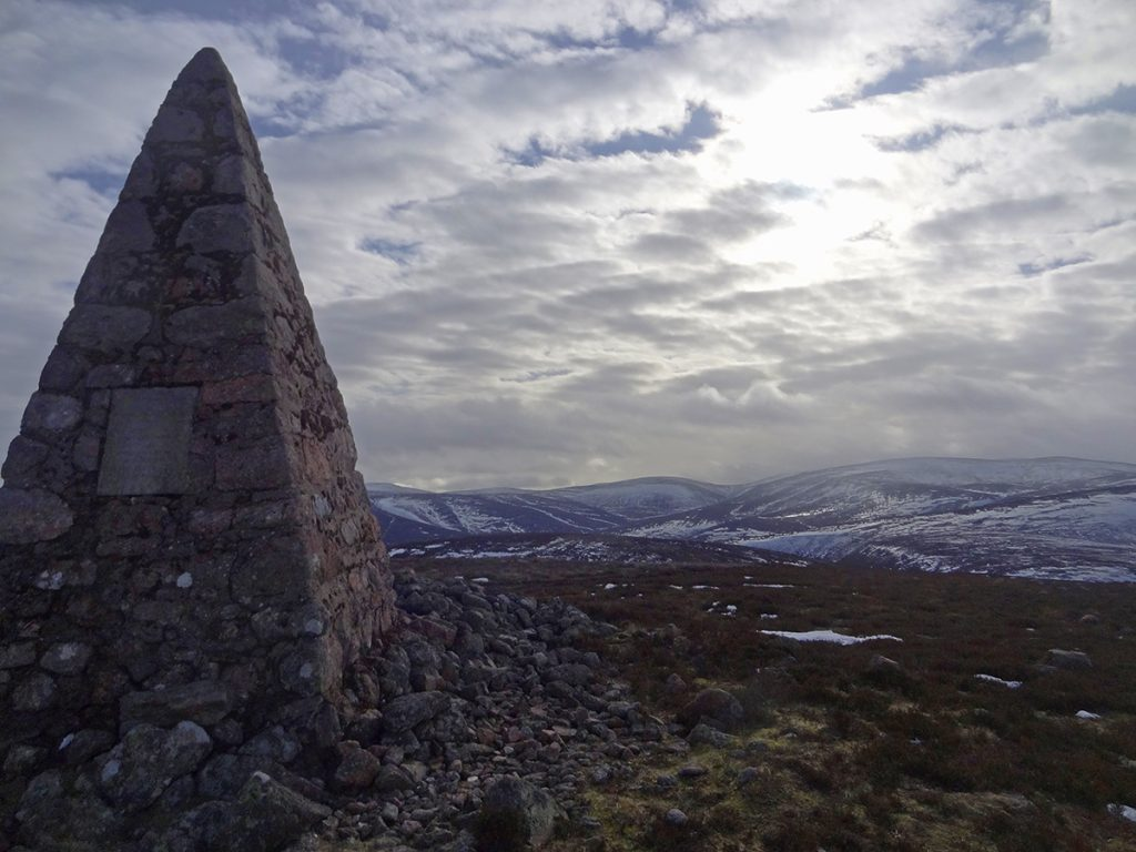 Looking South from the monument cairn at the top of Carnferg