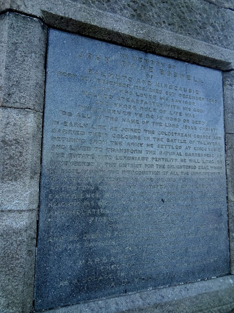 Plaque on the Boswell monument