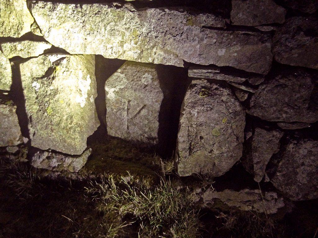 Unusual stone set into drystane dyke