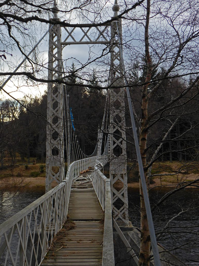 Originally built in 1905, then rebuilt in 1988, the suspension bridge at Cambus O' May was recently damaged in the flood and is closed