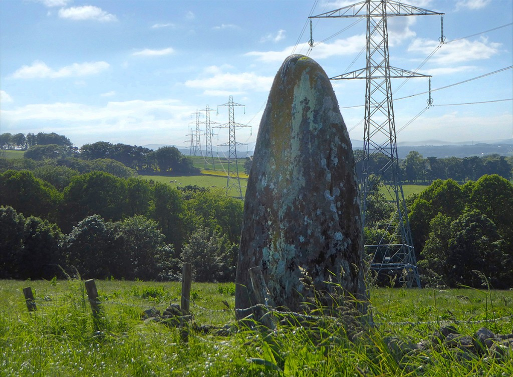 Gowk Stone and pylons