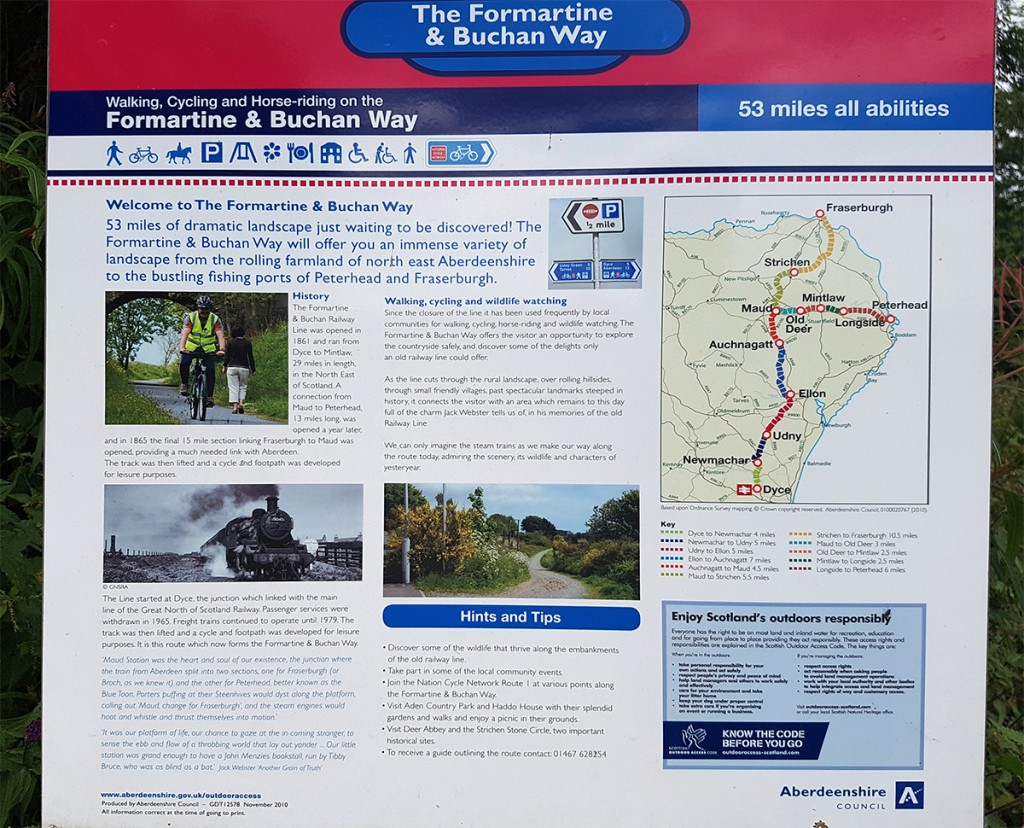 Formartine and Buchan Way Dyce start point notice board