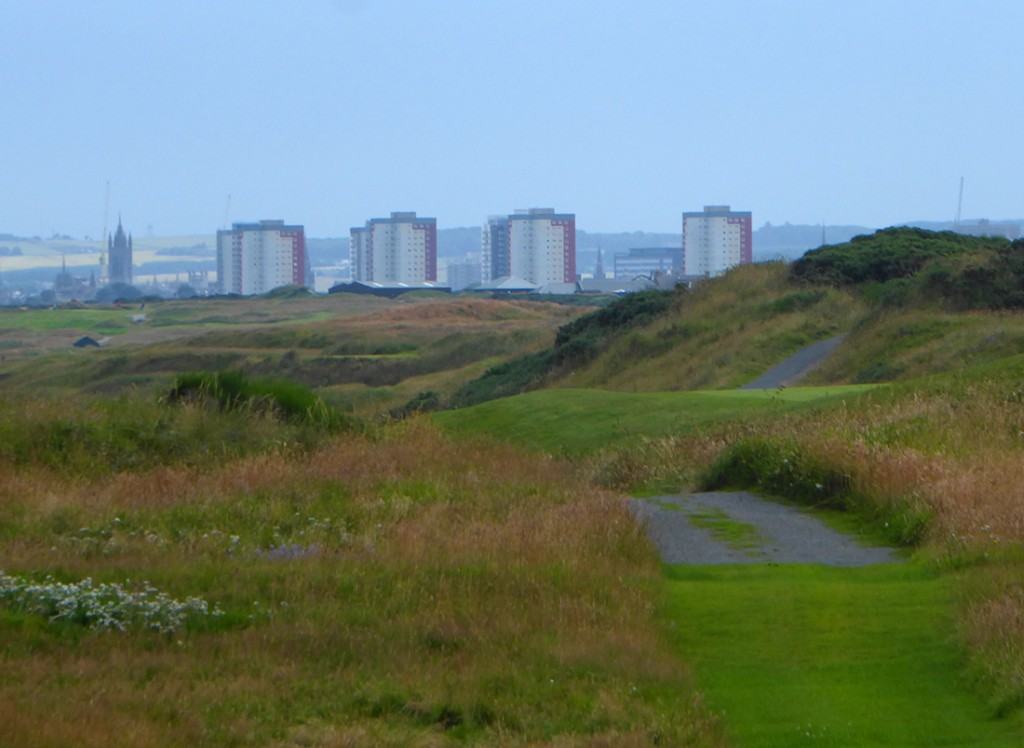 Looking back to Aberdeen across the course